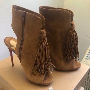 Christian Louboutin nude fringe heels